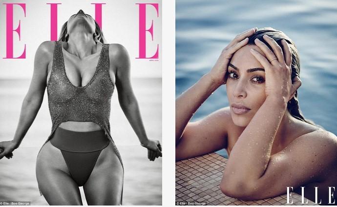 Настоящая русалка! Ким Кардашьян снялась для обложки Elle на пляже в сияющем топе и рассказала о четвертом ребенке (ФОТО)