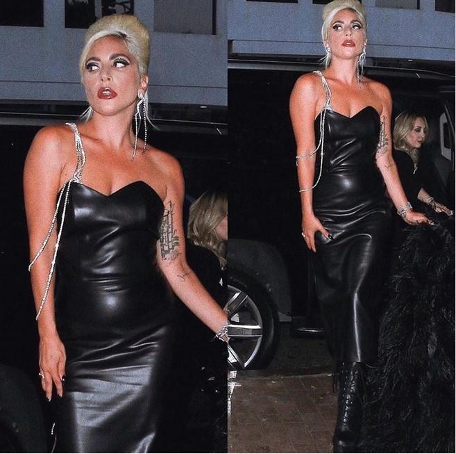 Образ дня: Леди Гага в черном кожаном платье от грузинского дизайнера